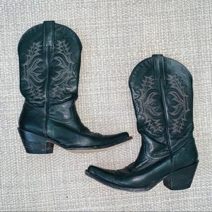 Stetson Black Leather Mid Calf Cowgirl Boots Sz 6